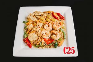 C25. **Spicy Thai Fried Rice (with Chicken, Shrimp, Pineapple, Red 	Pepper)