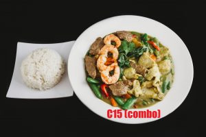 C15. Yellow Curry Chicken – (Combo Chicken, Shrimp)