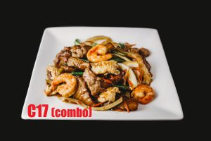 C17. Eggplant with Chicken or Combo – (Combo adds $2)
